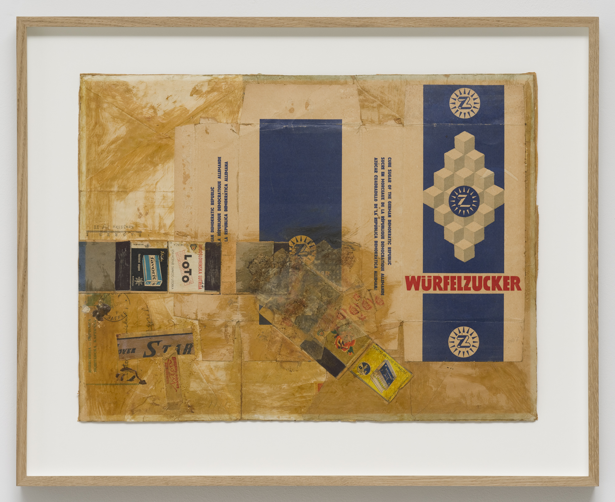 Noises 1, packaging material, paper, newspaper, flyers, envelopes, glue, cardboard, 46 x 57.5 cm, 1964