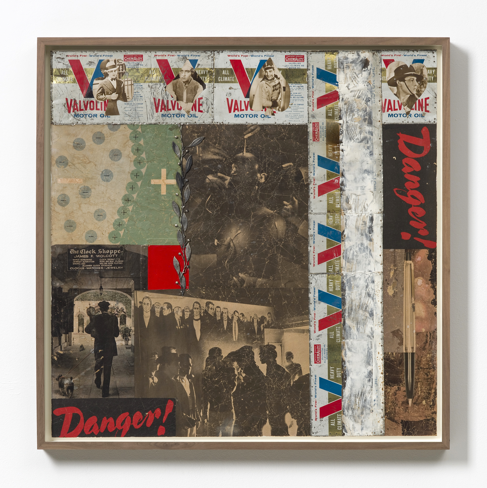 Enough, printed material, printed photographs, print on metal, metal object, paint on plywood, 75 x 75 cm, 1965