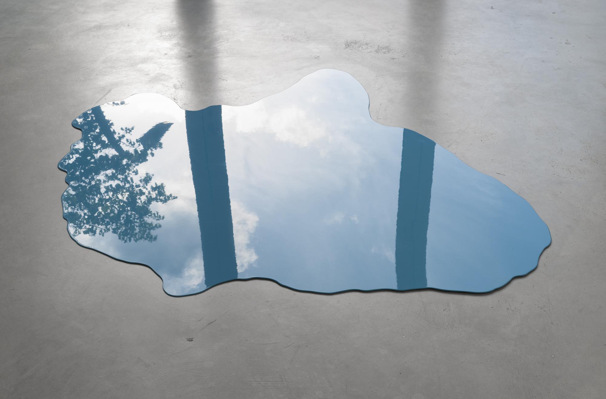 Alexander Gutke, Big Sky Blue, floor sculpture, metal, paint, variable dimensions, 2016