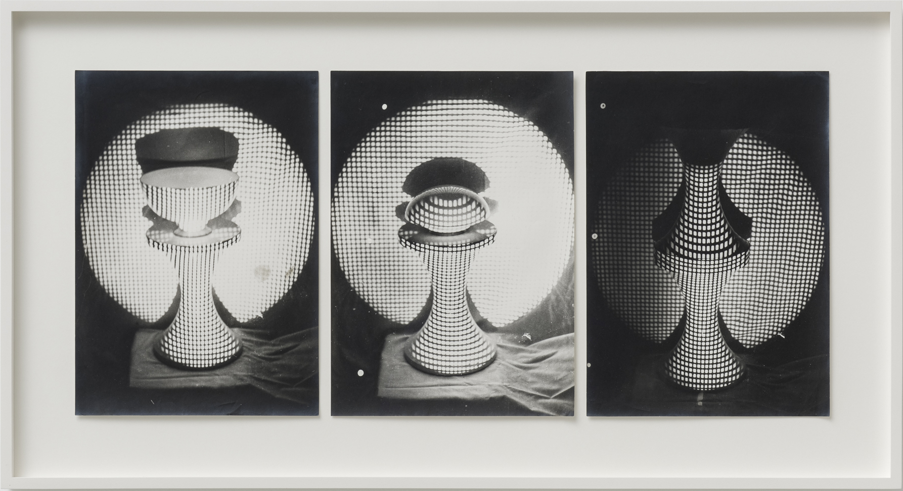 Ferenc Ficzek, Untitled (Chair, bowl, grid) No. 1-3, 1973, series of 3 silver gelatin prints on Dokubrom paper, 41,5 x 76,5 cm (framed). Photo: Marcus Schneider