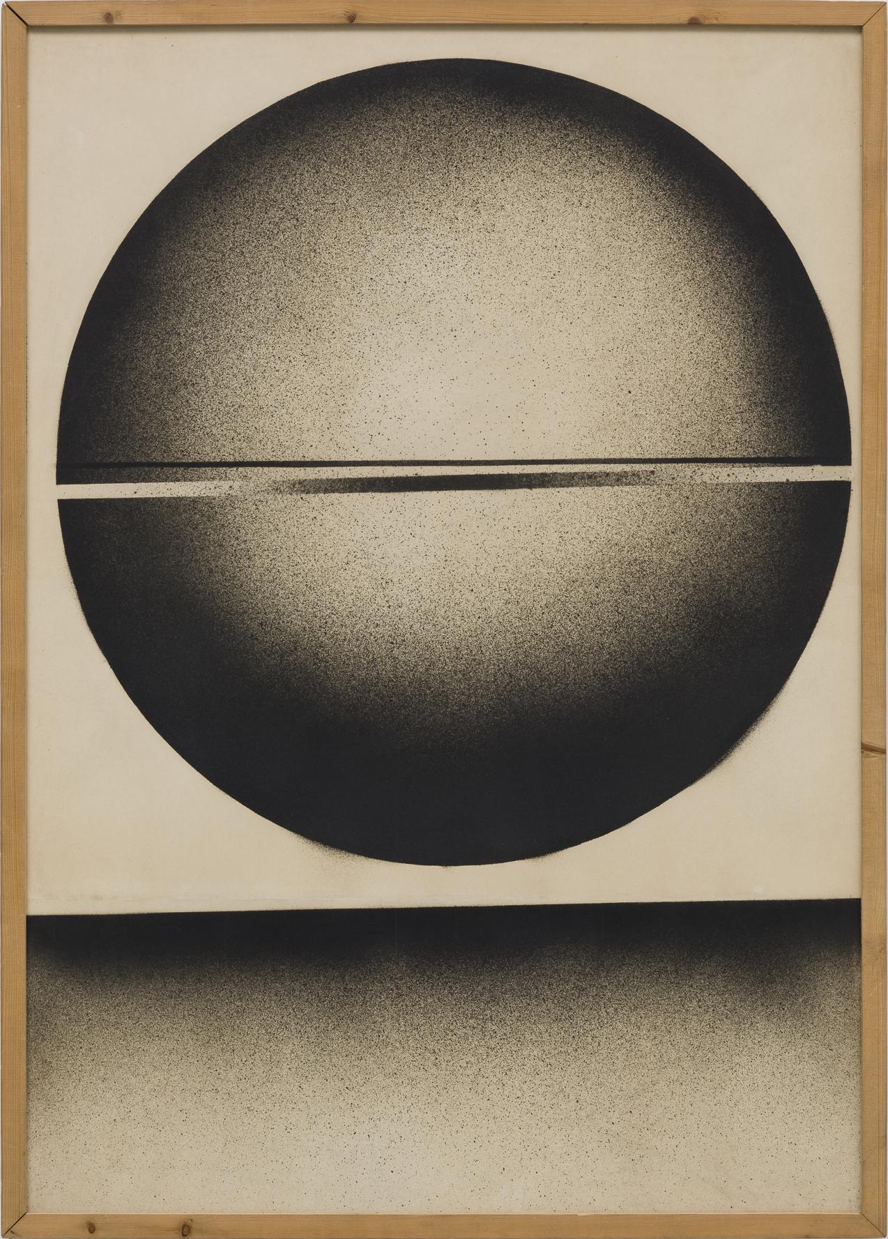 Ferenc Ficzek, Untitled (Sphere), 1969-1970, ink, printing ink, spray on paper, 98 x 70 cm. Photo: Marcus Schneider