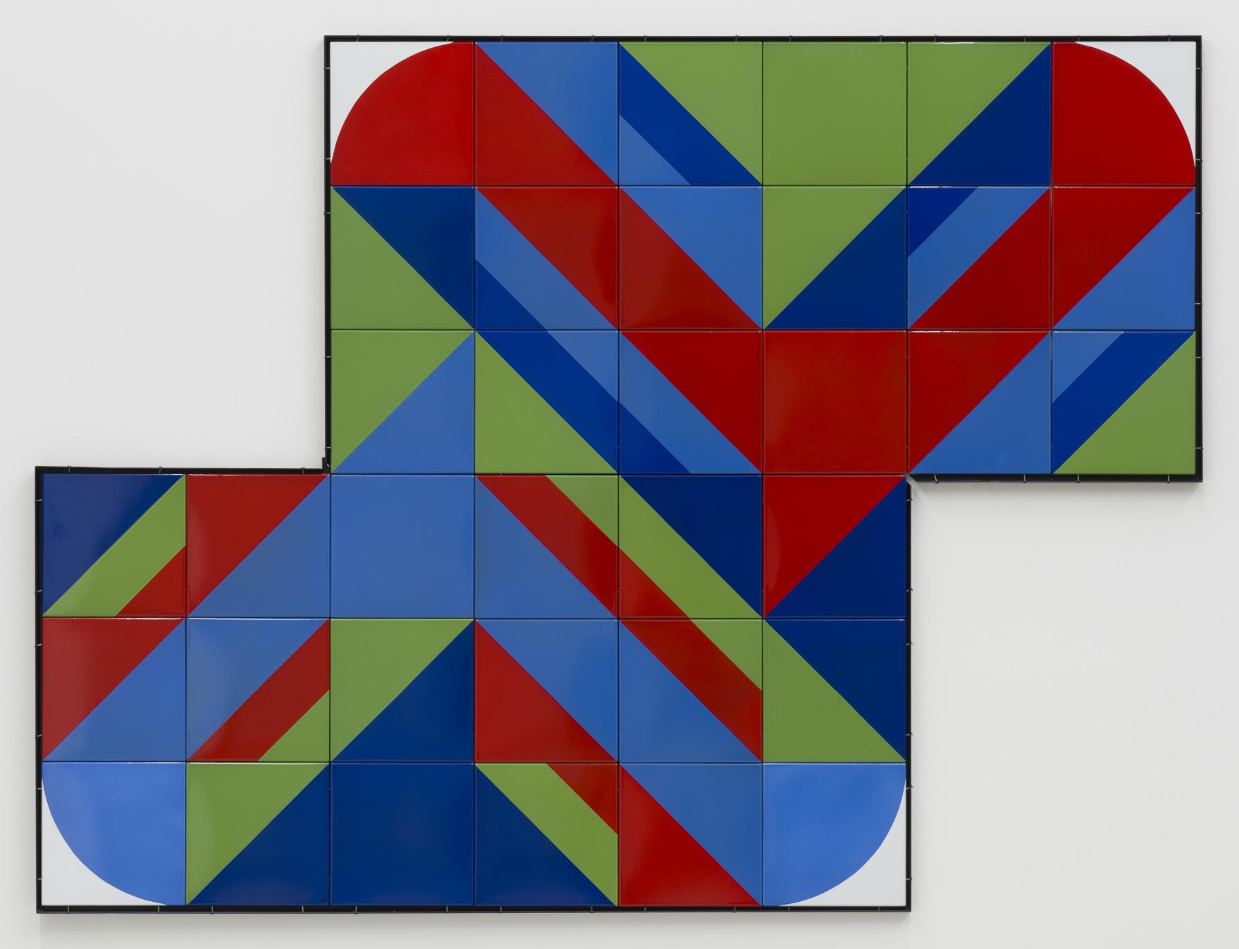 Ferenc Ficzek, Untitled, 1972, series of 36 enamelled steel plates, 30 x 30 cm each. Photo: Marcus Schneider