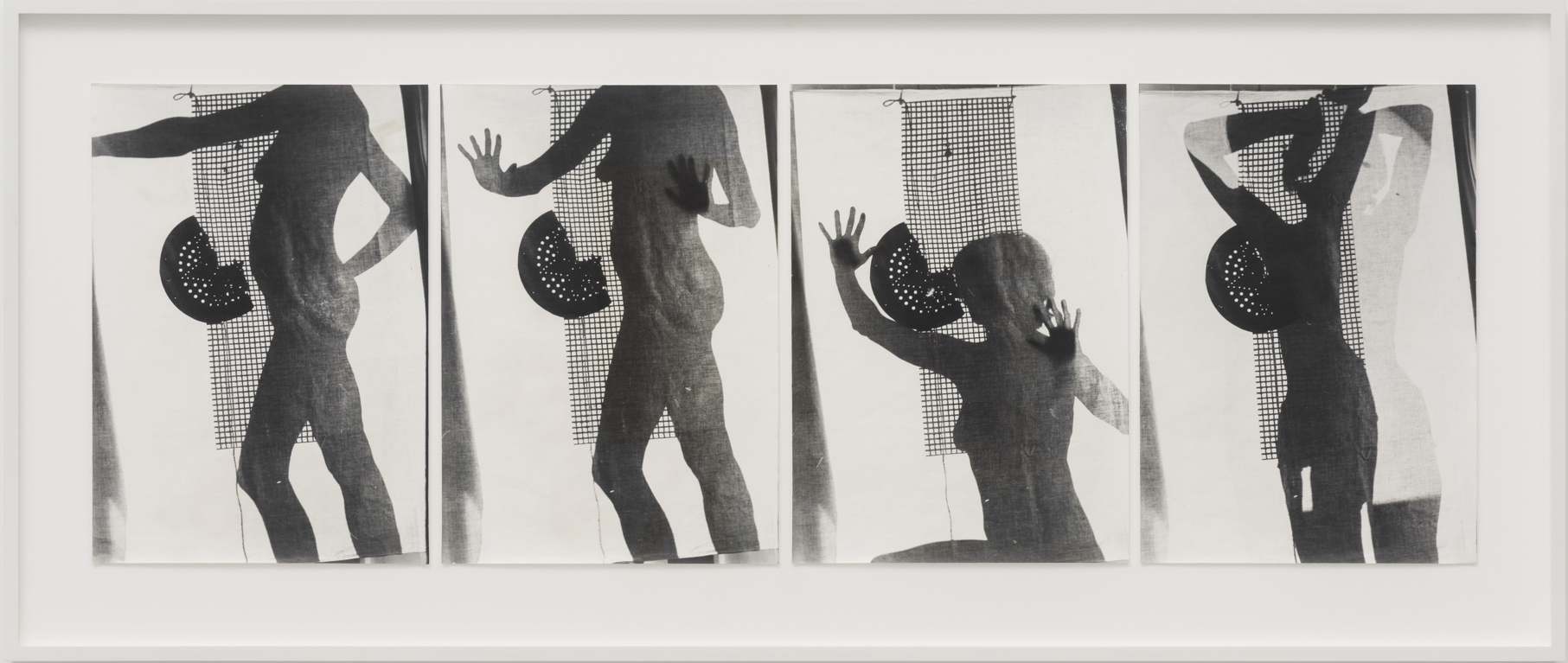 Ferenc Ficzek, Untitled (Shadow projection, figure, grid) No. 1-4, 1975, series of 4 silver gelatin prints on Dokubrom paper, 57,5 x 136 cm. Photo. Marcus Schneider