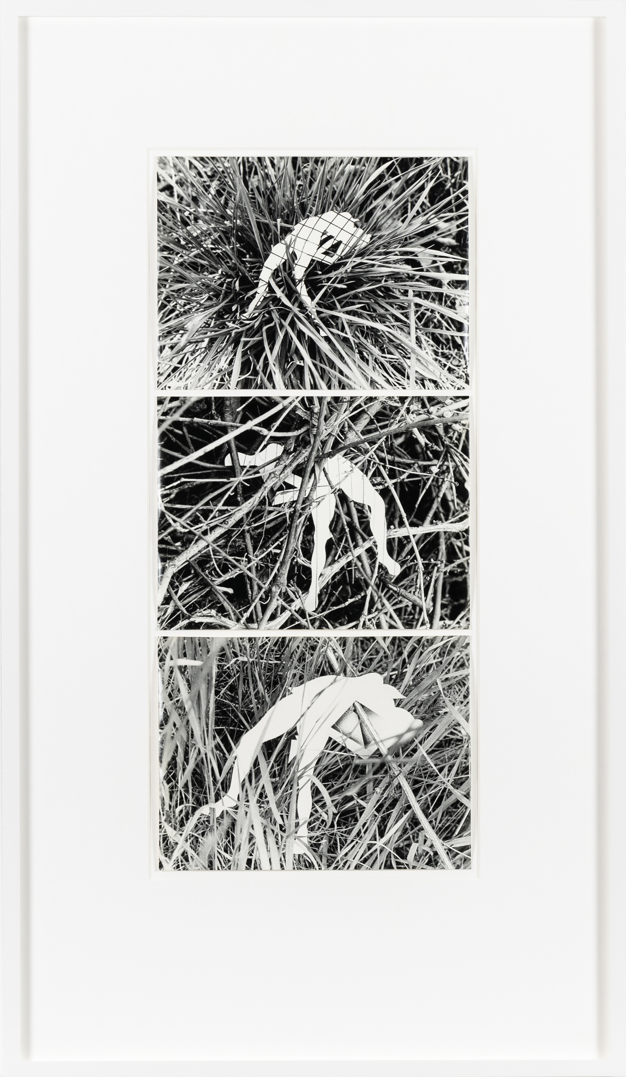 Ferenc Ficzek, Untitled (paper figure, boughs) No. 1-3, 1981, silver gelatin print, 3 prints, 17.8 x 23.8 cm each. Photo: Jan Hecl