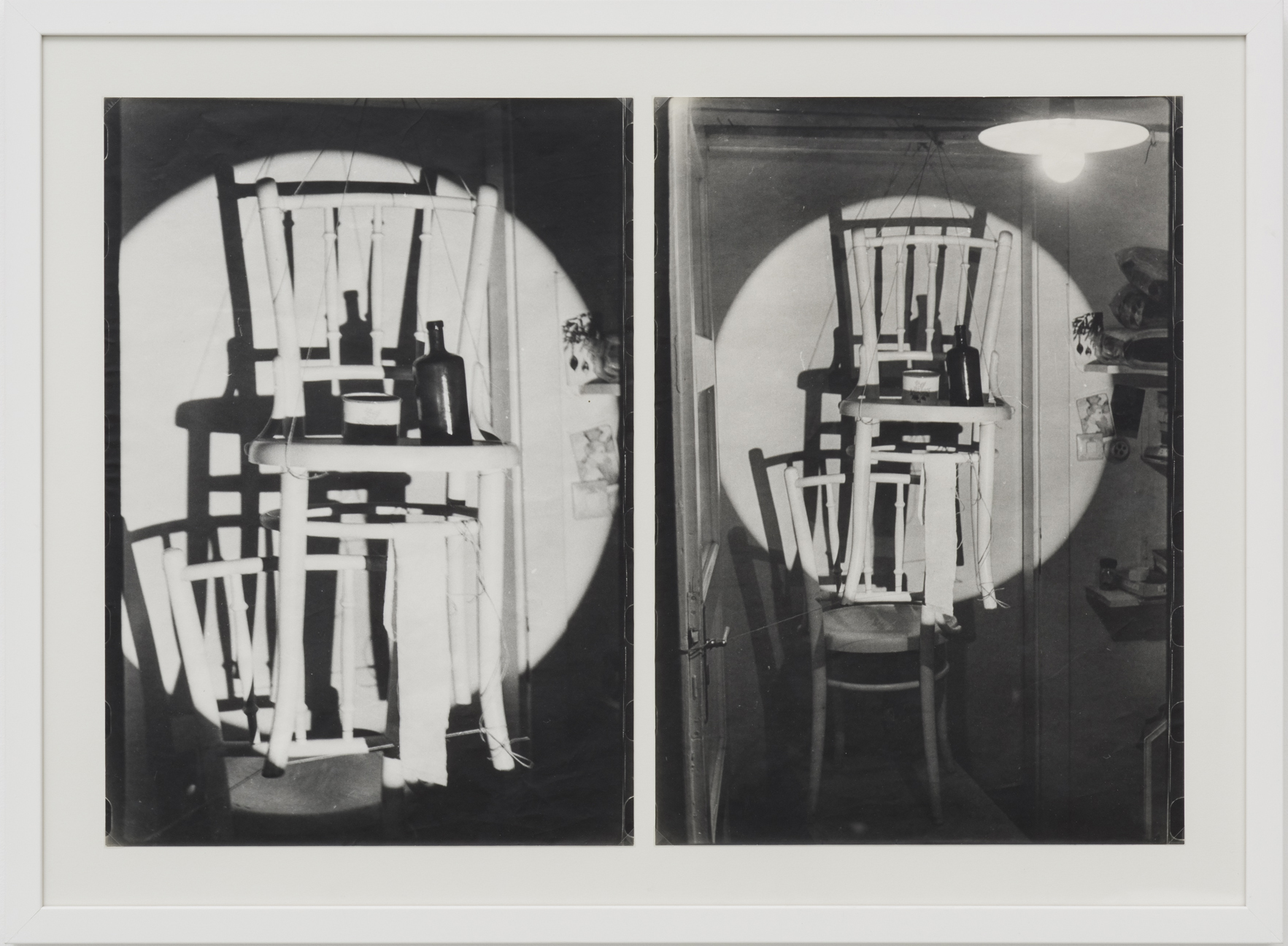 Ferenc Ficzek, Untitled, (Chair hanging) No. 1-2, 1974, series of 2 silver gelatin prints on Dokubrom paper, 52,5 x 71 cm. Photo: Marcus Schneider